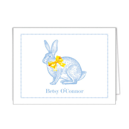 Blue Bunny Personalized Folded Notecards