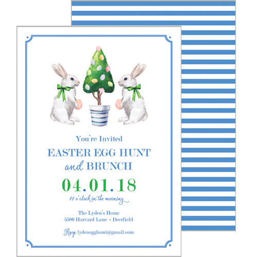 Bunny Topiary Tree Easter Party Invitation
