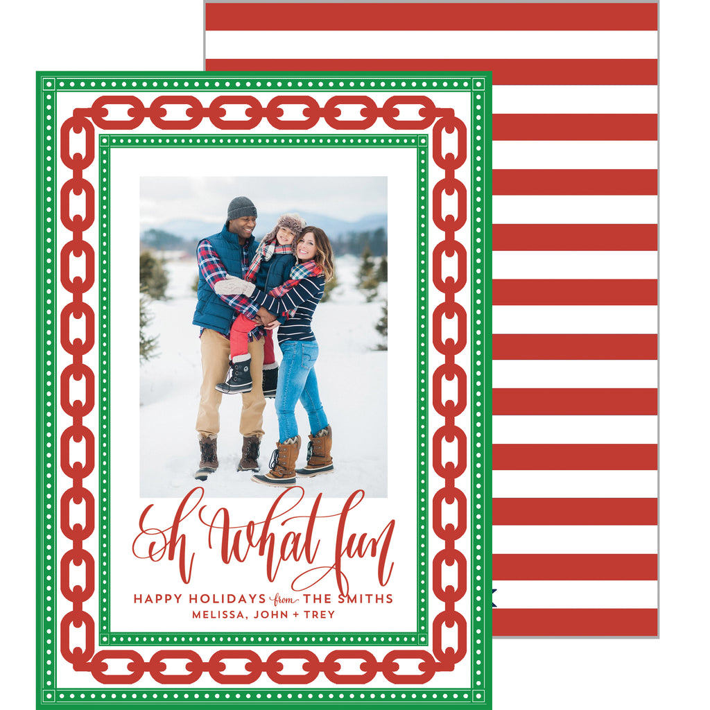 Christmas Preppy Chain Link Photo Card
