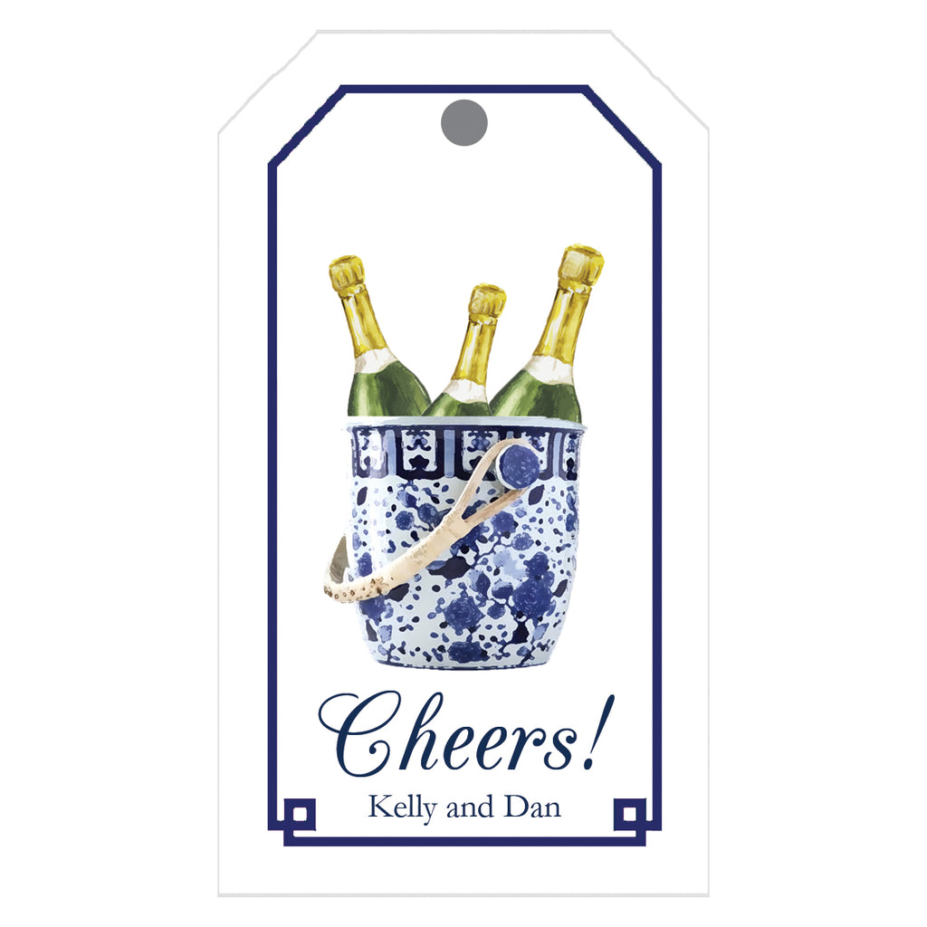 Blue and White Champagne Bucket Personalized Gift Tags