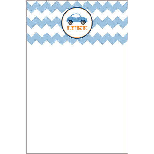 Little Blue Car Chevron Notecard