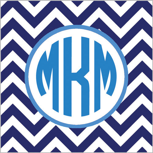 Chevron Gift Sticker - Set of 24 - Navy Blue