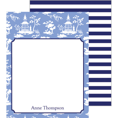 Chinoiserie Toile Personalized Flat Notecards