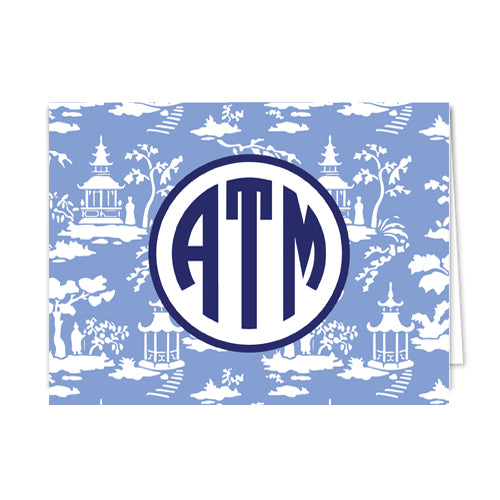 Chinoiserie Toile Monogram Folded Notecards