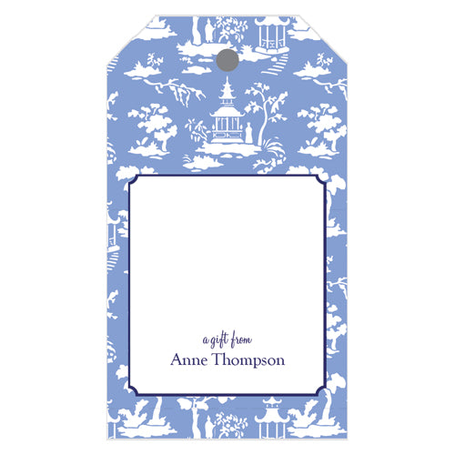 Chinoiserie Toile Personalized Gift Tags