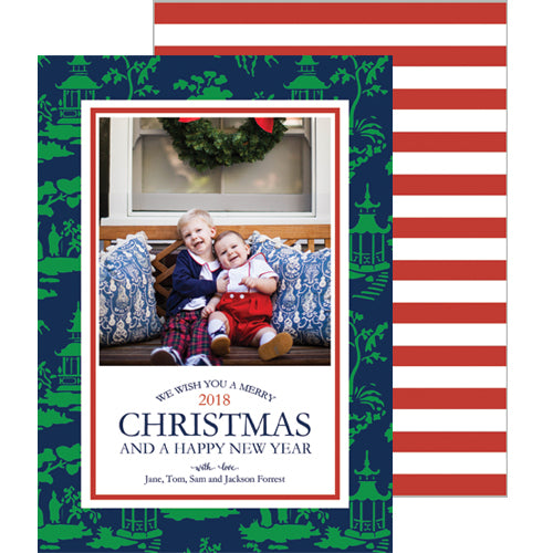 Chinoiserie Toile Christmas Photo Card