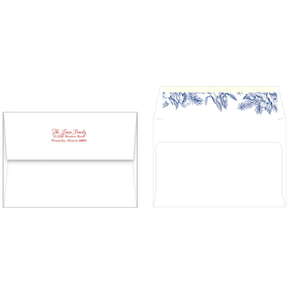 Blue and White Chinoiserie Holly Christmas Photo Card