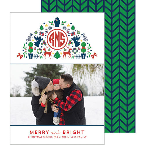 Christmas Icon Monogram Preppy Holiday Photo Card