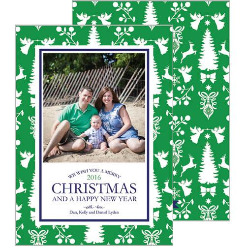 [CUSTOM] Christmas Paysage Silhoutte Holiday Photo Card | More Colors - Green - Navy Blue