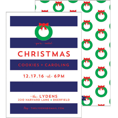 Christmas Rugby Stripe Party Invitation