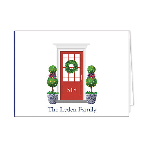 Christmas Front Door Personalized Folded Notecards