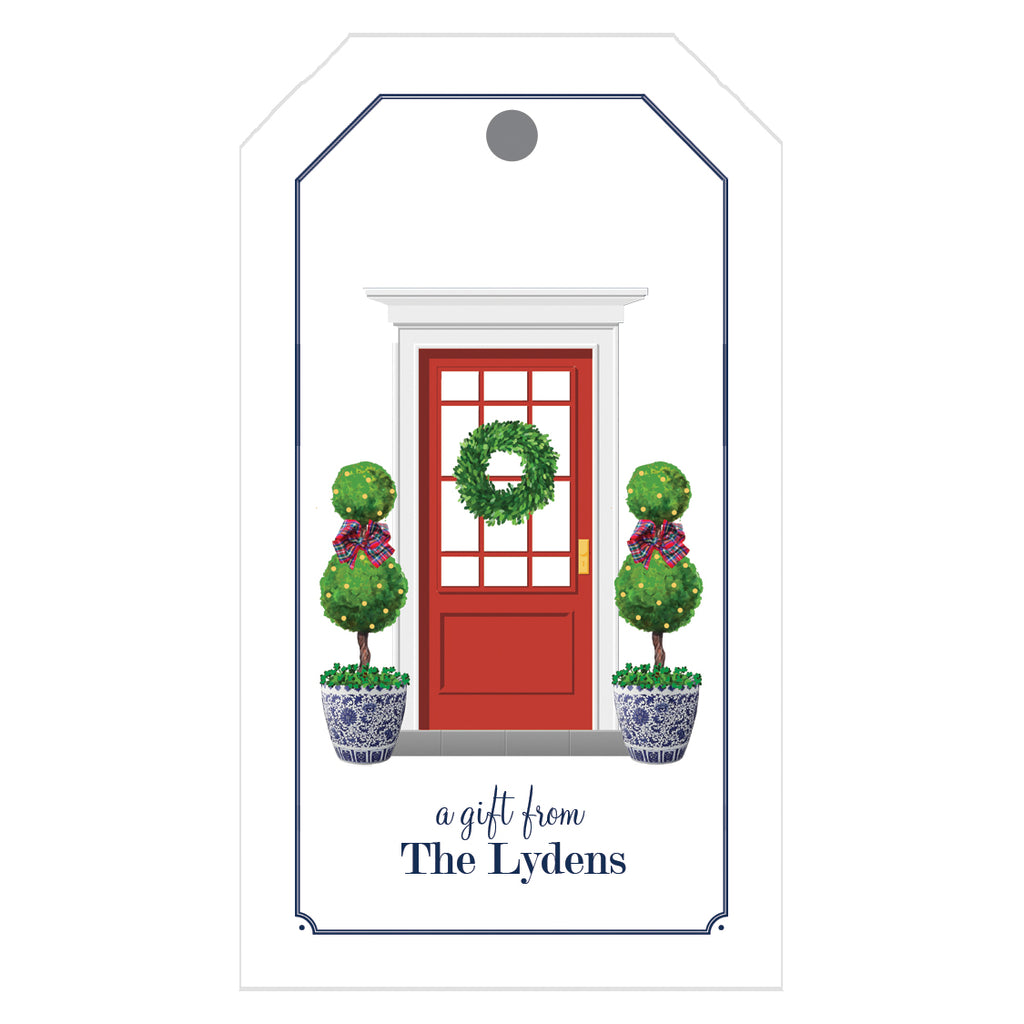 Christmas Front Door with Topiary Trees Personalized Holiday Gift Tags
