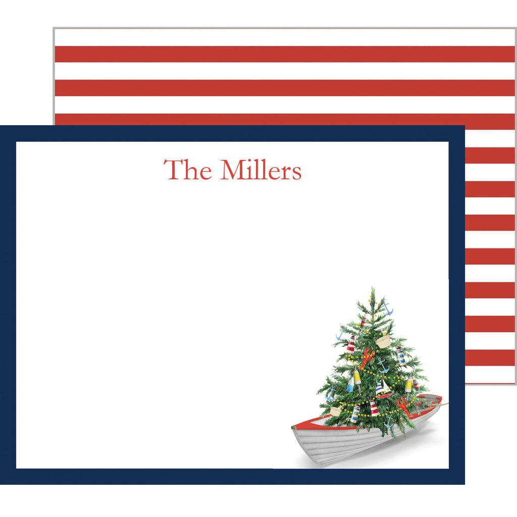 Nautical Christmas Tree in a Row Boat Personalized Flat Notecard
