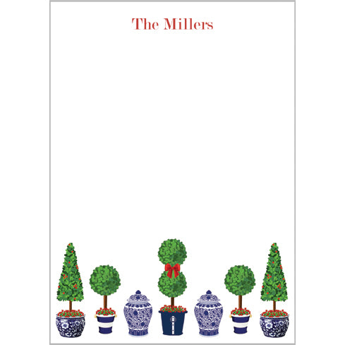 Christmas Topiary Trees Personalized Notepad