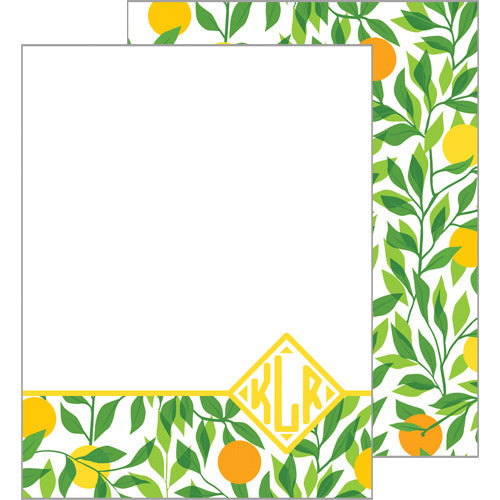 Citrus Monogram Flat Notecard