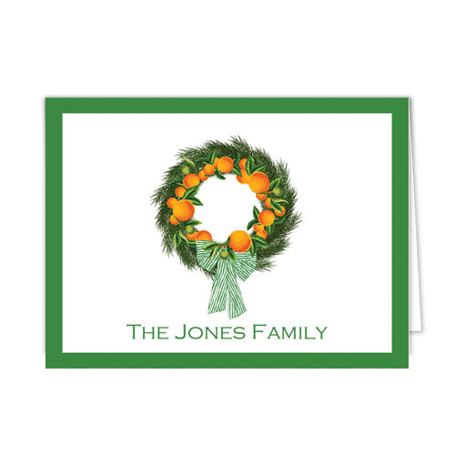 Citrus Wreath with Oranges and Evergreen Personalized Folded Notecards