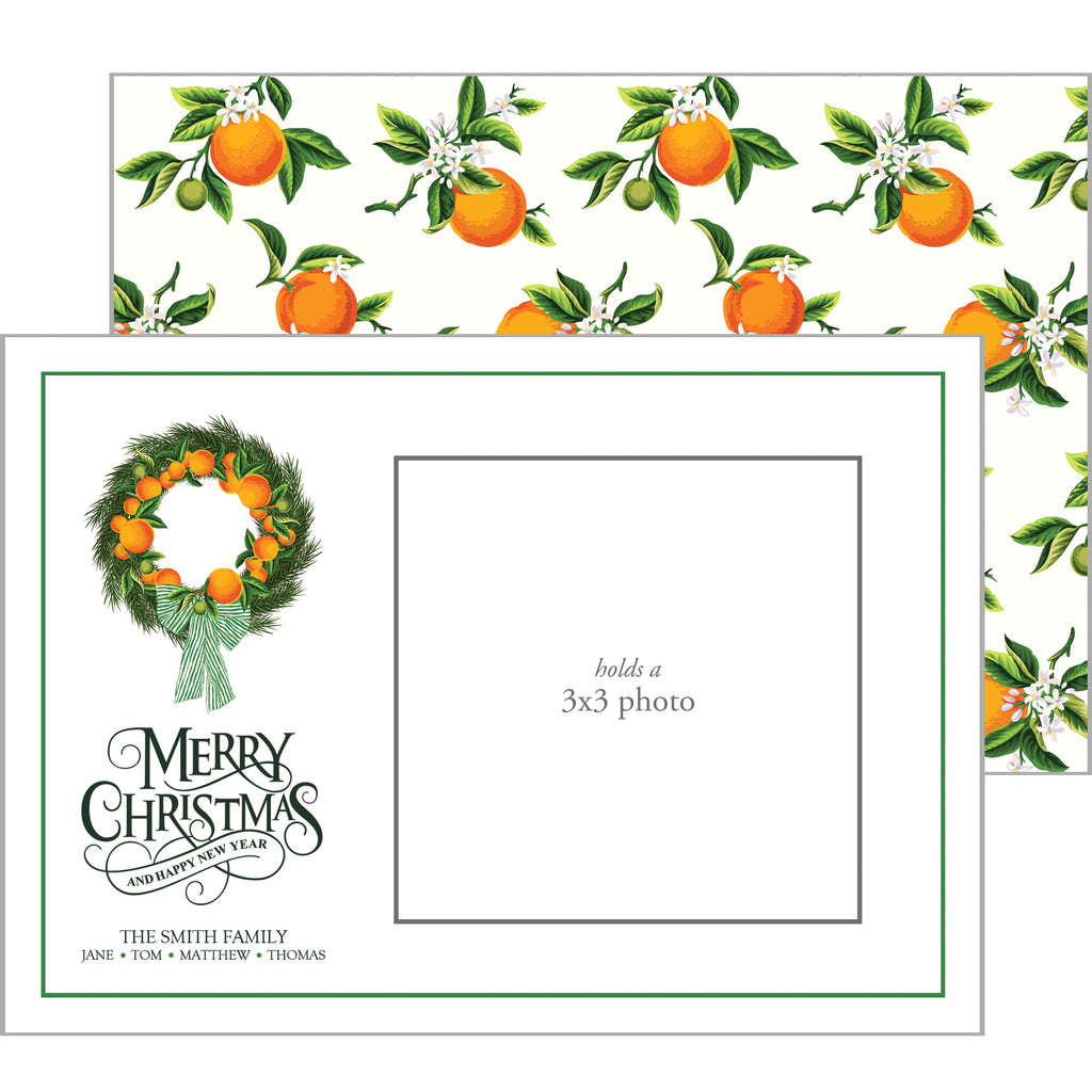Photo Mount Holiday Photo Card | Citrus Wreath
