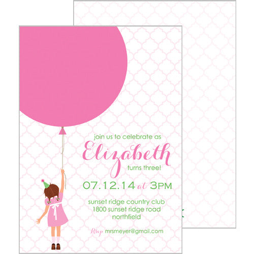 Birthday Girl Double-Sided Invitations - Brunette