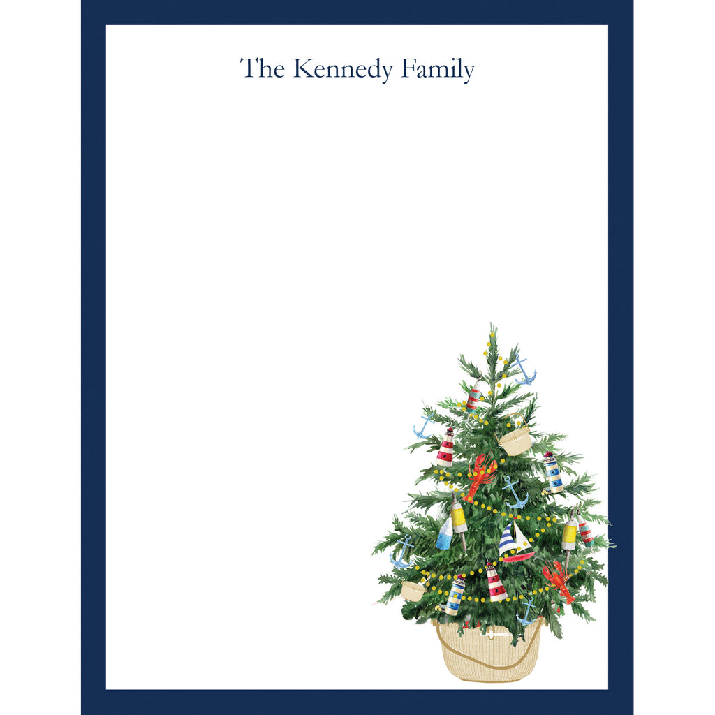 Coastal Christmas Tree in a Nantucket Basket Personalized Notepad