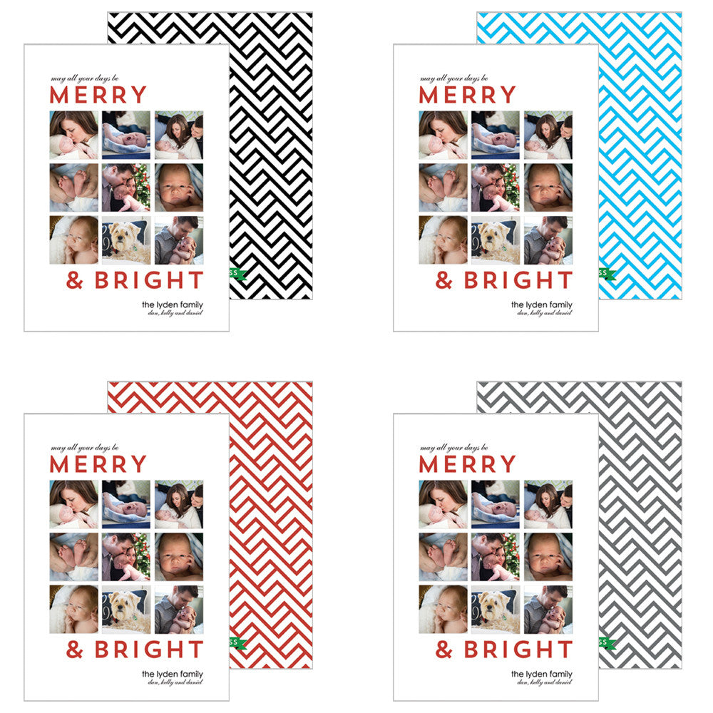 Collage Photo Card with Mod Link Pattern - More Color Options