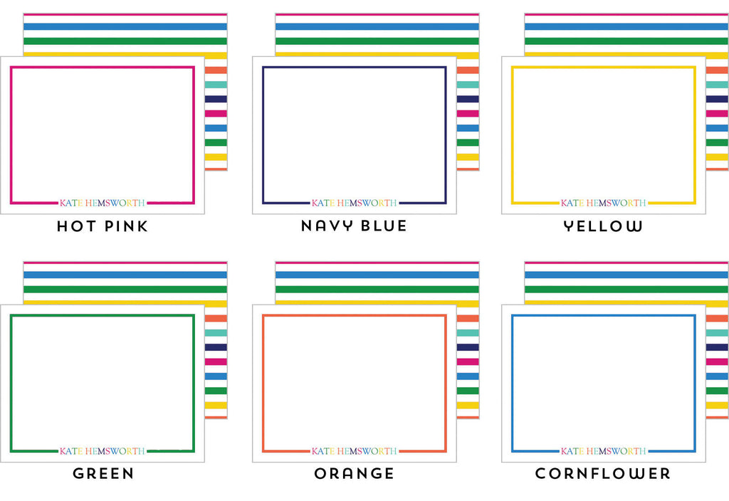 Colorful Name Personalized Flat Notecards