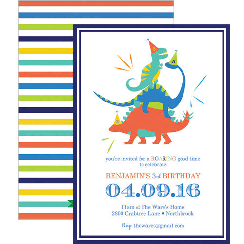 Colorful Dino Double-Sided Invitation