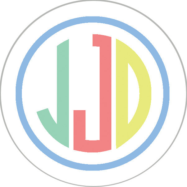 Blue Green Colorful Preppy Monogram Sticker