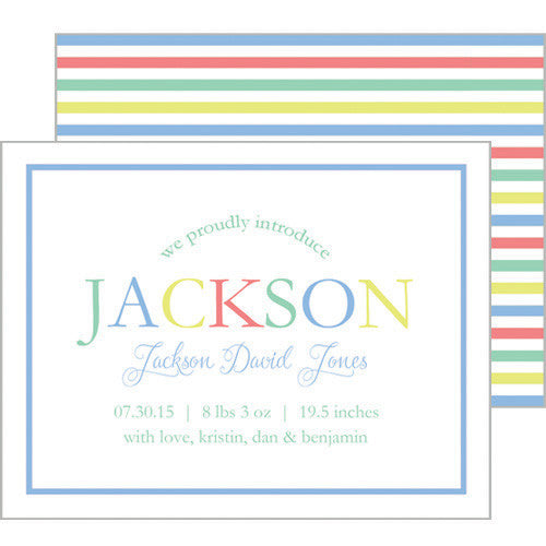 Blue Green Colorful Stripe Flat Birth Announcement or Invitation
