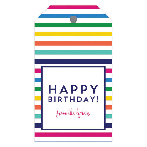 Colorful Stripe Personalized Gift Tags