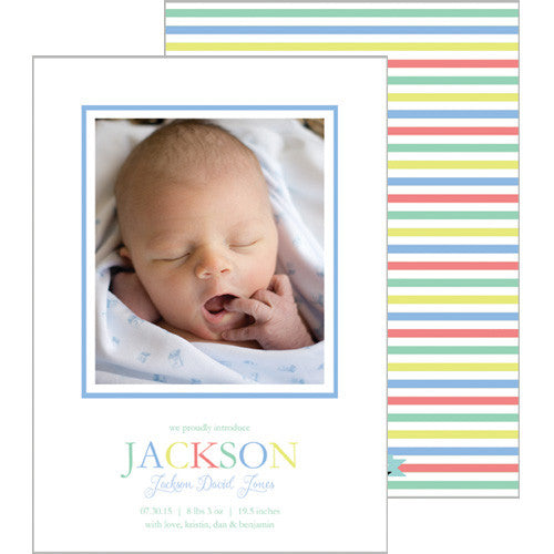 Blue Green Colorful Stripe Photo Birth Announcement Cards