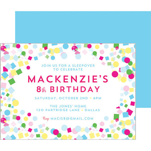 Confetti Double-Sided Party Invitation