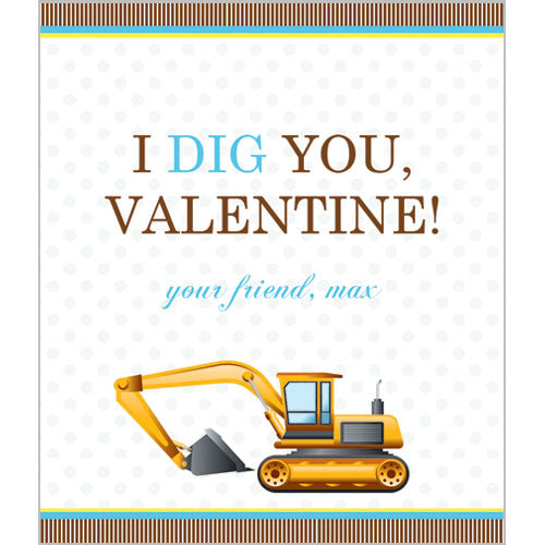 "Construction ""I Dig You"" Valentines for Kids"
