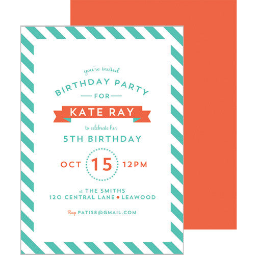Diagonal Stripe Invitation - Aqua