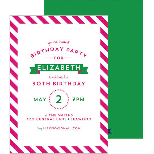 Diagonal Stripe Invitation - Hot Pink
