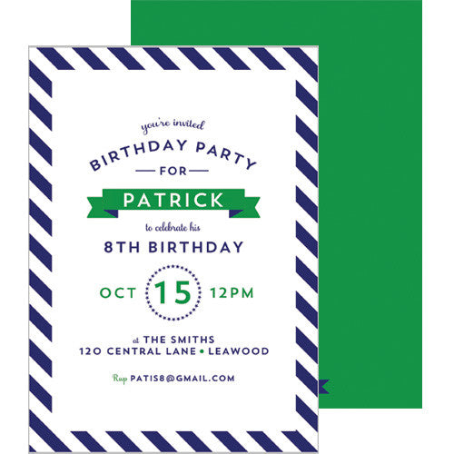 Diagonal Stripe Invitation - Navy Blue