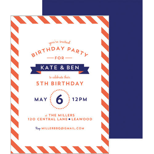Diagonal Stripe Invitation - Orange
