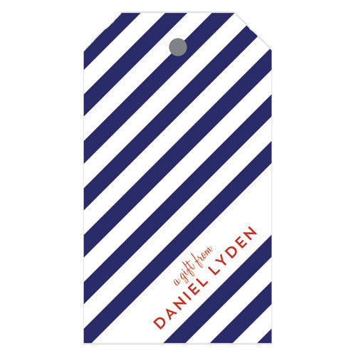 Diagonal Stripe Personalized Gift Tags | More Colors