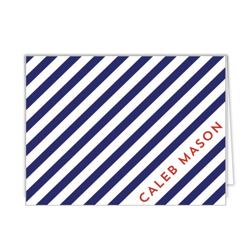 Diagonal Stripe Personalized Folded Notecards - More Colors