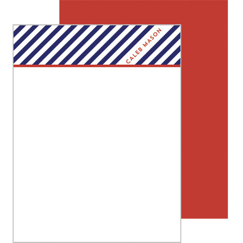 Diagonal Stripe Personalized Flat Notecards - More Color Options