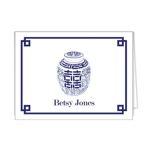 Double Happiness Jar Personalized Folded Notecards