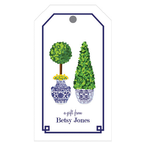Chinoiserie Topiary Personalized Gift Tags