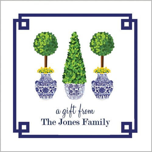 Chinoiserie Topiary Gift Sticker | Set of 24