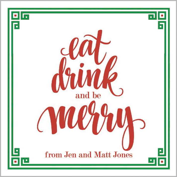 Eat Drink and Be Merry Christmas Gift Sticker | Set of 24