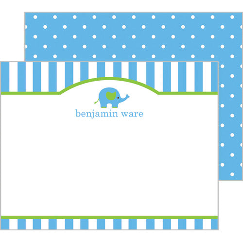 Elephant Personalized Flat Notecards