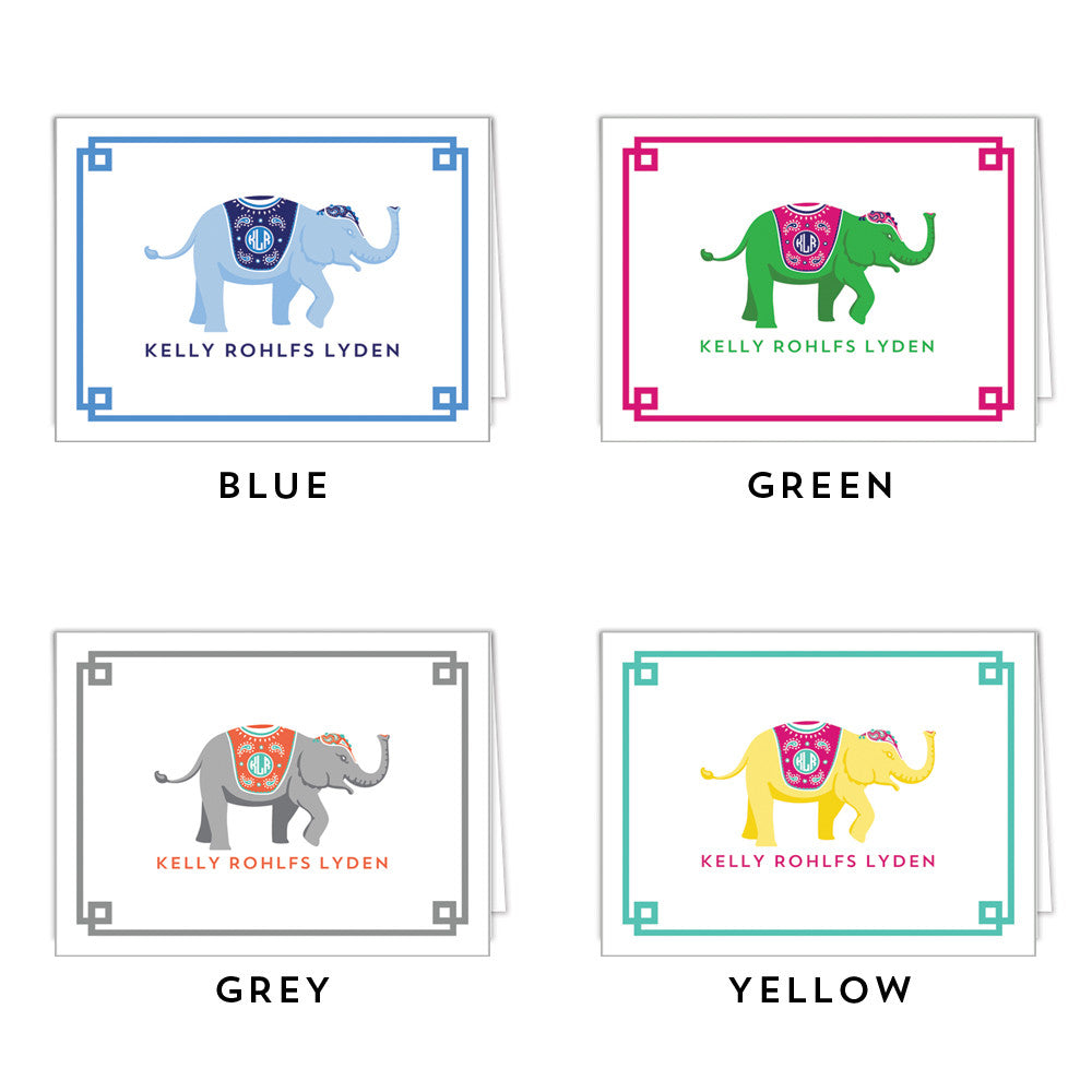 Monogrammed Elephant Folded Notecard - More Colors