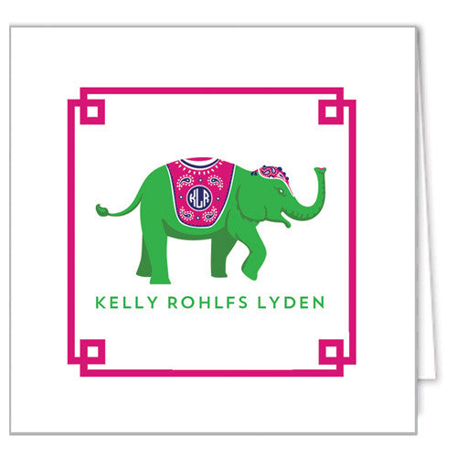 Monogram Elephant Enclosure Cards + Envelopes | More Colors
