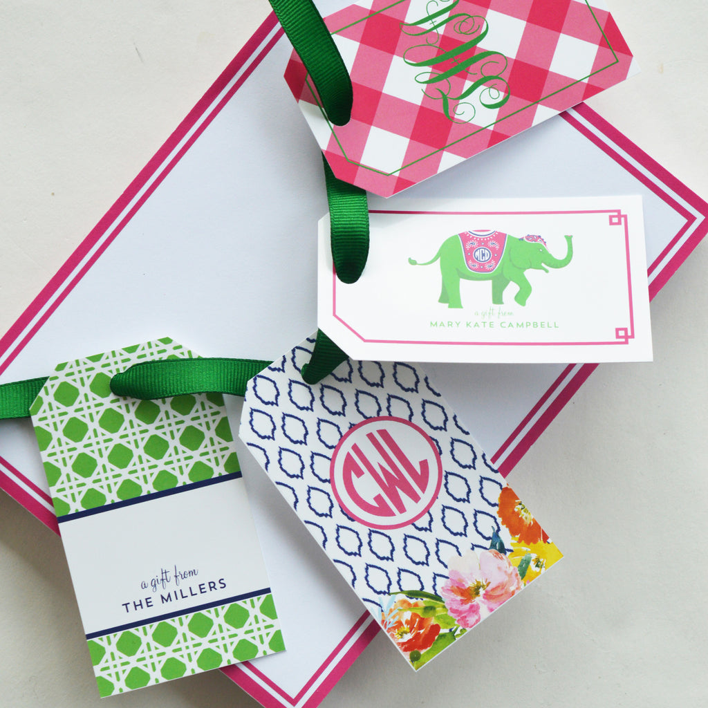 Buffalo Check Monogram Personalized Gift Tags | More Colors