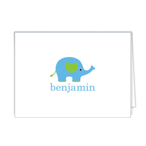 Elephant Personalized Folded Notecards - More Color Options