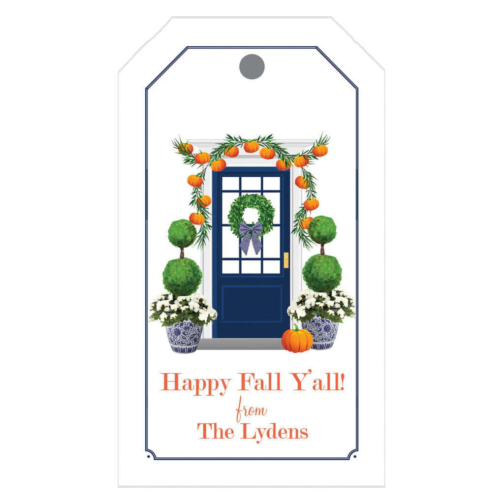 Fall Front Door with Pumpkins Personalized Gift Tags