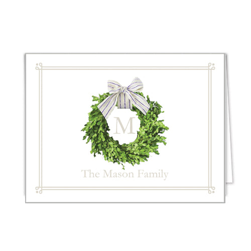 Farmhouse Wreath Personalized Folded Notecards